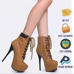 Breckelle's Camel Blazer11 Platform Stiletto Heels